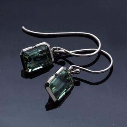 white gold green tourmaline droplet earrings modern design