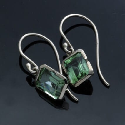 Modern elegant birthstone jewellery green tourmaline earrings