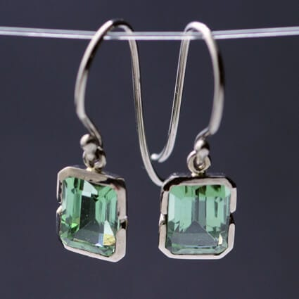 white gold green tourmaline gemstone earrings handmade
