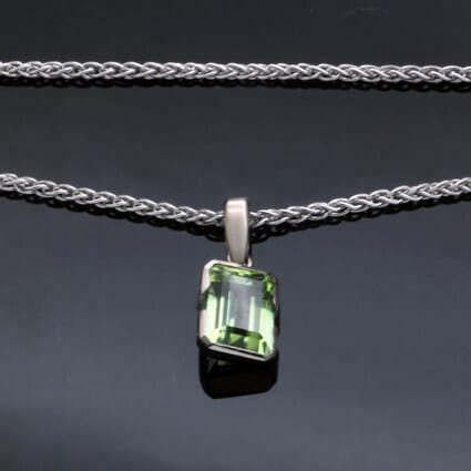 Green Tourmaline 14ct white Gold gemstone jewellery modern style