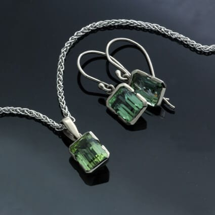 Birthstone gemstone handmade elegant jewellery green tourmaline white gold