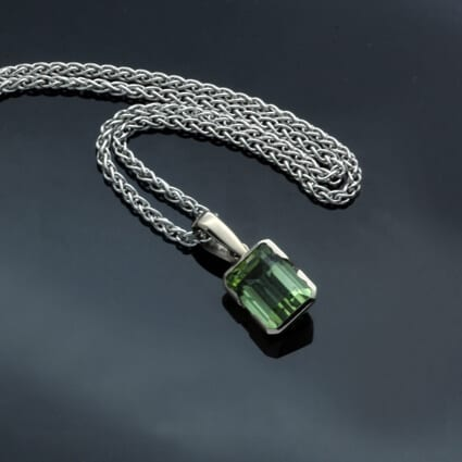 handcrafted white gold tourmaline gemstone necklace contemporary design