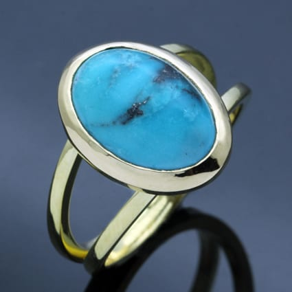 Unique handcrafted modern yellow gold ring turquoise gemstone