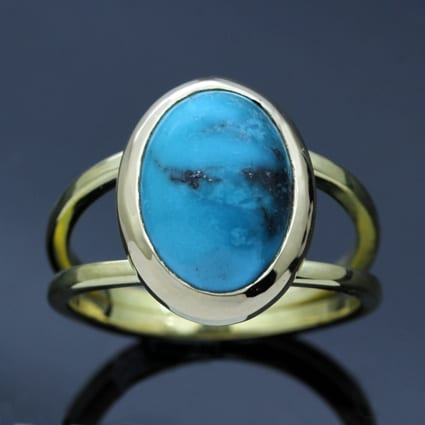 Turquoise cabochon gemstone yellow gold handmade ring