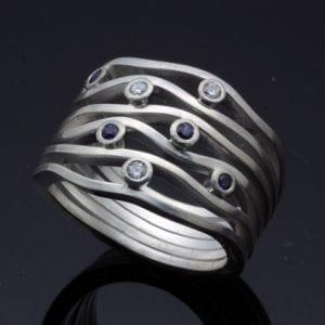 Unique handmade silver sapphire gemstone engagement ring