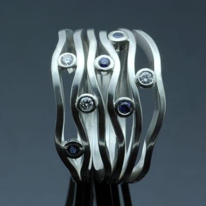 Bespoke handmade unique modern engagement ring