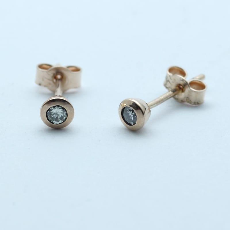 22ebf6a02 ROUND BRILLIANT CUT DIAMOND SET IN ROSE GOLD STUD EARRINGS - Julian ...